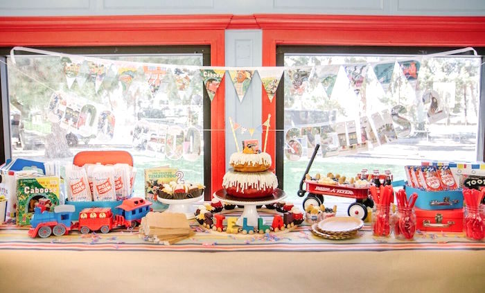 Dessert table from a Vintage Little Golden Trains Birthday Party on Kara's Party Ideas | KarasPartyIdeas.com (16)