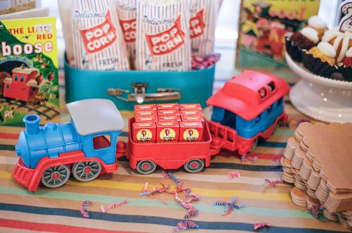 Train carrying raisins from a Vintage Little Golden Trains Birthday Party on Kara's Party Ideas | KarasPartyIdeas.com (8)