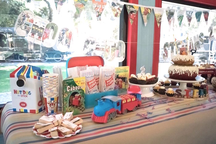 Train dessert table from a Vintage Little Golden Trains Birthday Party on Kara's Party Ideas | KarasPartyIdeas.com (35)