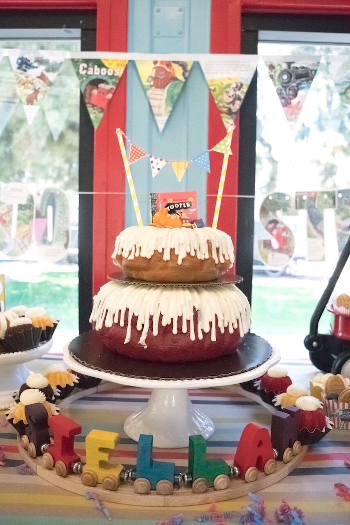 Layered bundt cake from a Vintage Little Golden Trains Birthday Party on Kara's Party Ideas | KarasPartyIdeas.com (33)
