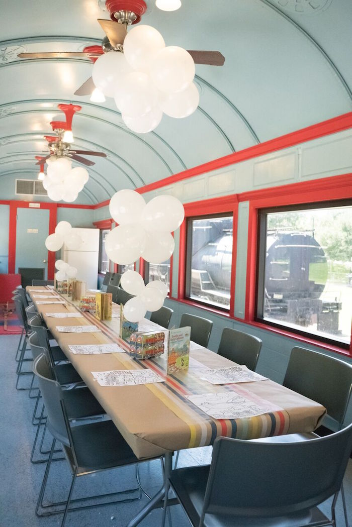 Party table placed in a train car from a Vintage Little Golden Trains Birthday Party on Kara's Party Ideas | KarasPartyIdeas.com (31)