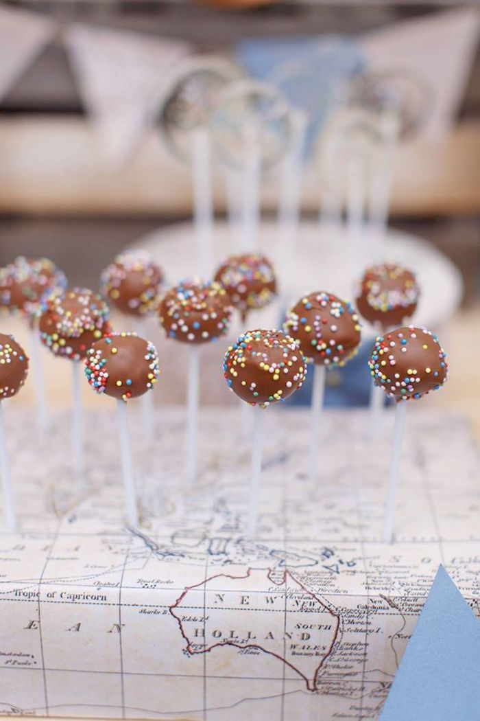 Chocolate sprinkled cake pops from a Vintage Travel Party on Kara's Party Ideas | KarasPartyIdeas.com (36)