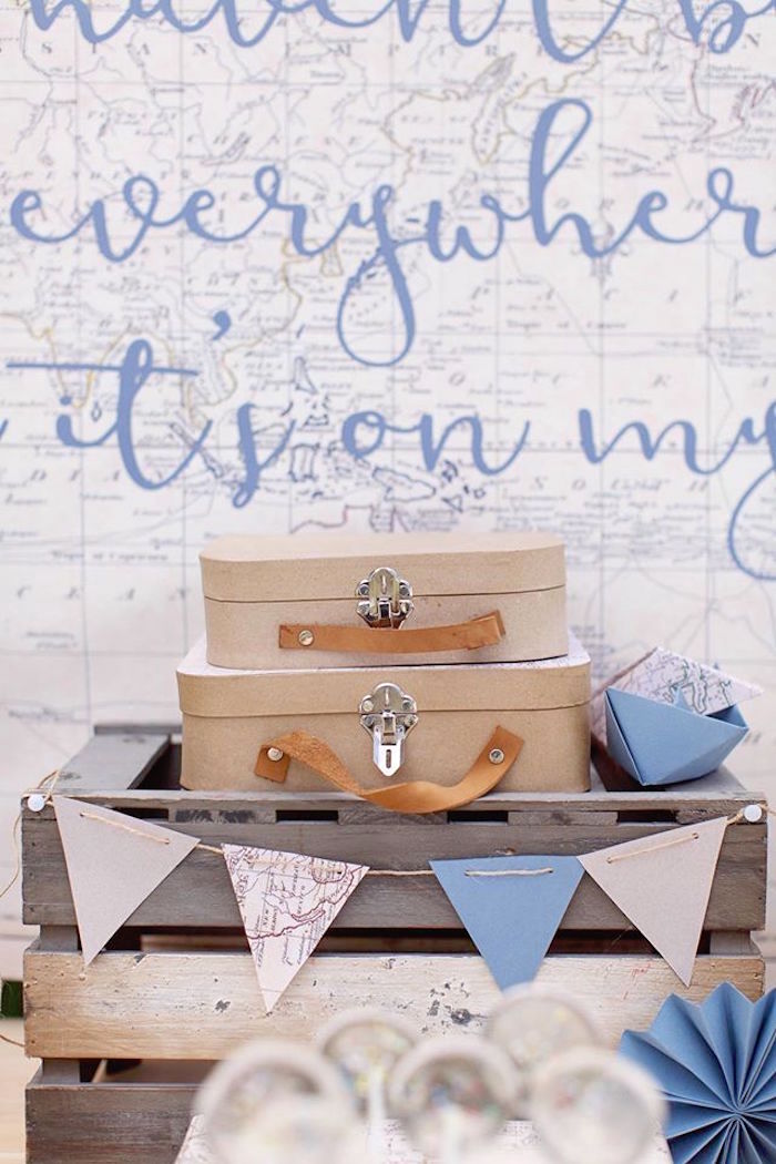 Wood crate + vintage suitcase centerpiece from a Vintage Travel Party on Kara's Party Ideas | KarasPartyIdeas.com (29)