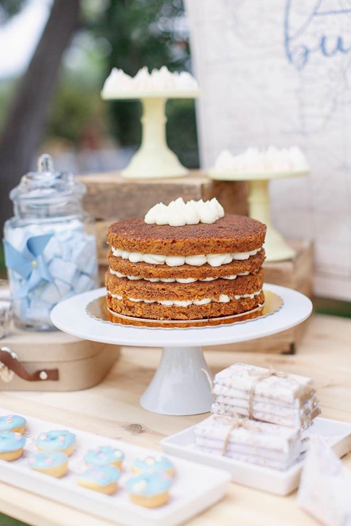 Layered naked cake from a Vintage Travel Party on Kara's Party Ideas | KarasPartyIdeas.com (42)