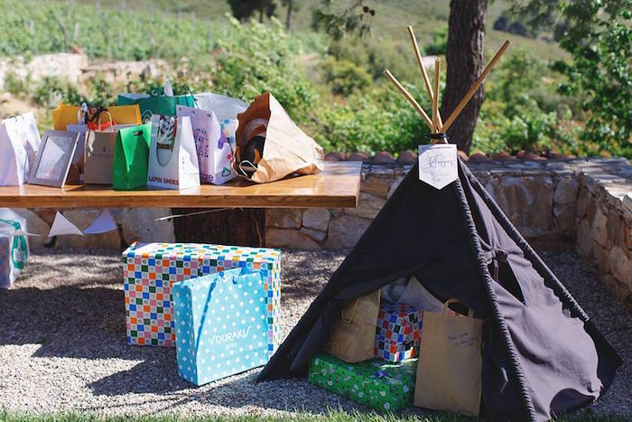 Gift teepee from a Vintage Travel Party on Kara's Party Ideas | KarasPartyIdeas.com (39)