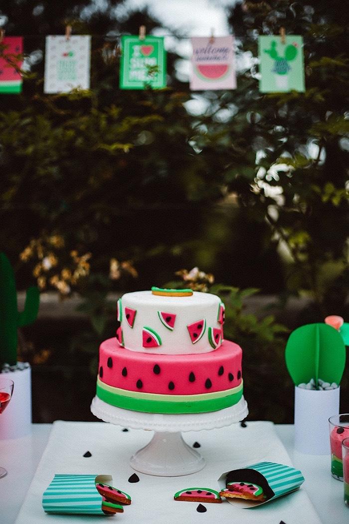 Watermelon cake from a Watermelon Birthday Party on Kara's Party Ideas | KarasPartyIdeas.com (21)