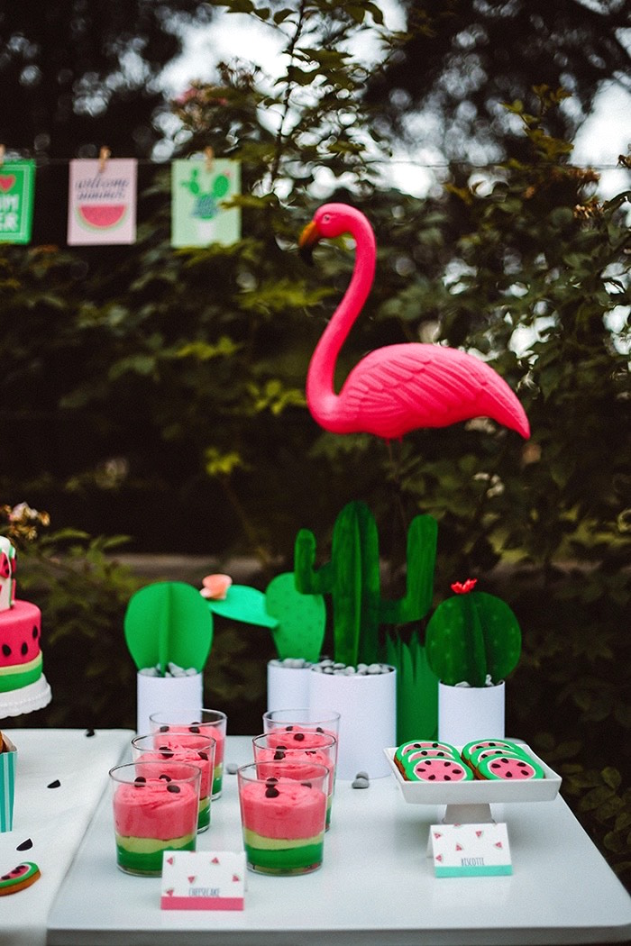 Watermelon sweets and flamingo decoration from a Watermelon Birthday Party on Kara's Party Ideas | KarasPartyIdeas.com (20)