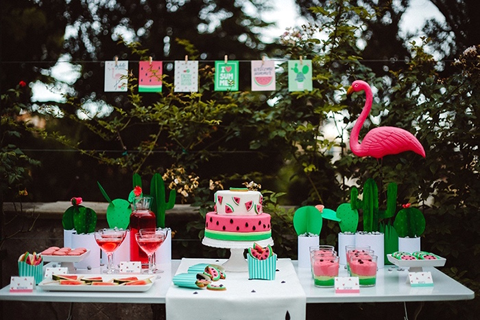 Watermelon dessert tablescape from a Watermelon Birthday Party on Kara's Party Ideas | KarasPartyIdeas.com (19)