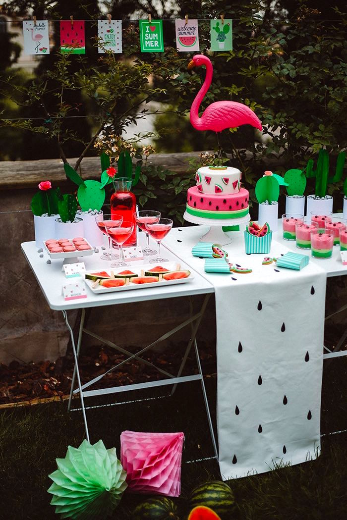 Close-up of a dessert table from a Watermelon Birthday Party on Kara's Party Ideas | KarasPartyIdeas.com (17)