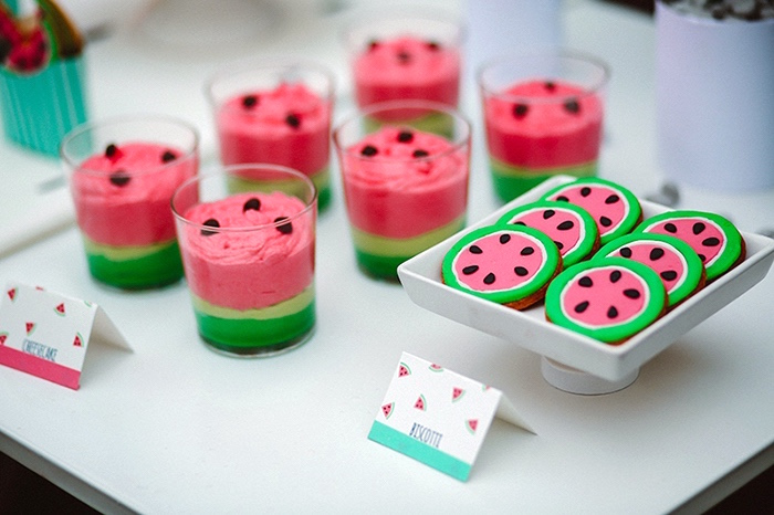 Watermelon dessert cups and cookies from a Watermelon Birthday Party on Kara's Party Ideas | KarasPartyIdeas.com (31)
