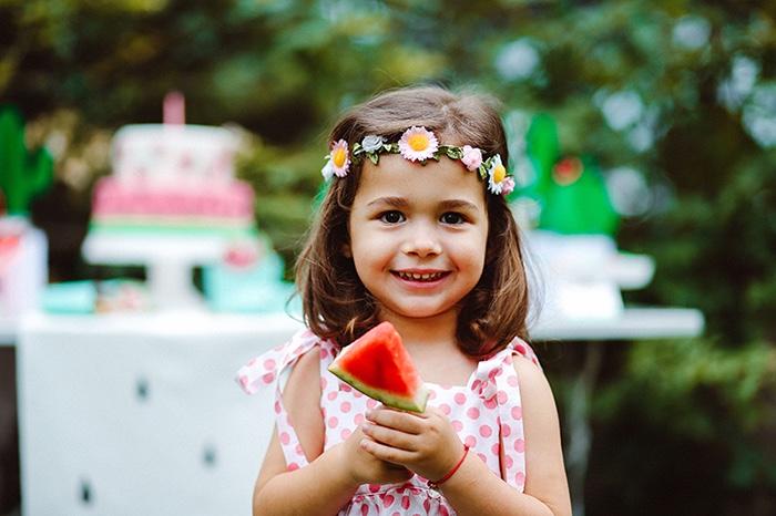 Flower headband from a Watermelon Birthday Party on Kara's Party Ideas | KarasPartyIdeas.com (6)