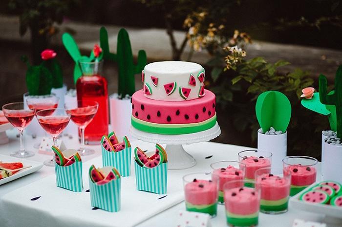 Watermelon dessert table from a Watermelon Birthday Party on Kara's Party Ideas | KarasPartyIdeas.com (30)