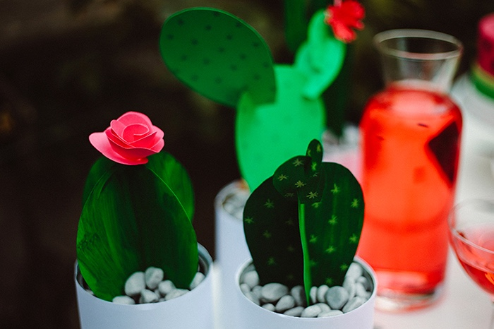 Cactus centerpieces from a Watermelon Birthday Party on Kara's Party Ideas | KarasPartyIdeas.com (27)
