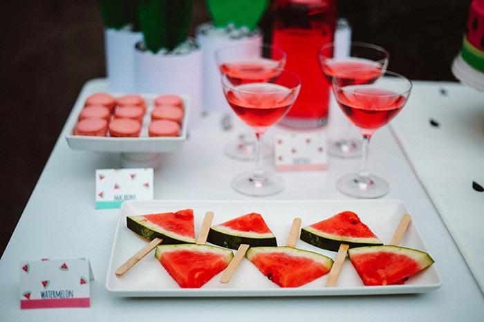 Watermelon slices on sticks from a Watermelon Birthday Party on Kara's Party Ideas | KarasPartyIdeas.com (26)