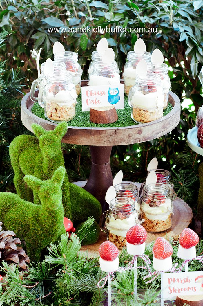 Felt deer and cheesecake jars from a Woodland Forest Baby Shower via Kara's Party Ideas | KarasPartyIdeas.com (12)