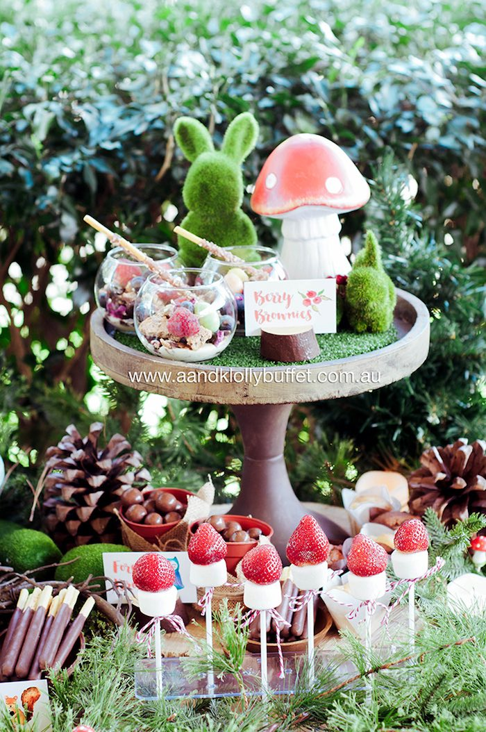 Berry brownies and strawberry marshrooms from a Woodland Forest Baby Shower via Kara's Party Ideas | KarasPartyIdeas.com (10)