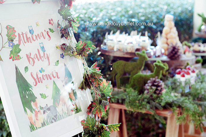 Custom woodland sign from a Woodland Forest Baby Shower via Kara's Party Ideas | KarasPartyIdeas.com (9)