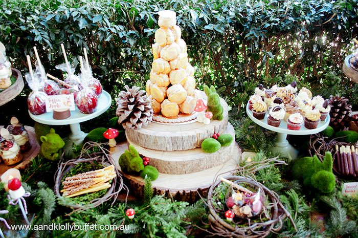 Woodland sweets and dessert table decor from a Woodland Forest Baby Shower via Kara's Party Ideas | KarasPartyIdeas.com (7)
