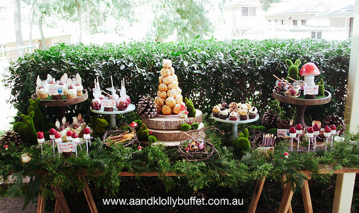 Woodland Forest Dessert Table from a Woodland Forest Baby Shower via Kara's Party Ideas | KarasPartyIdeas.com (4)