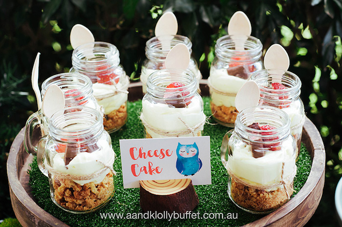 Cheesecake jars from a Woodland Forest Baby Shower via Kara's Party Ideas | KarasPartyIdeas.com (21)