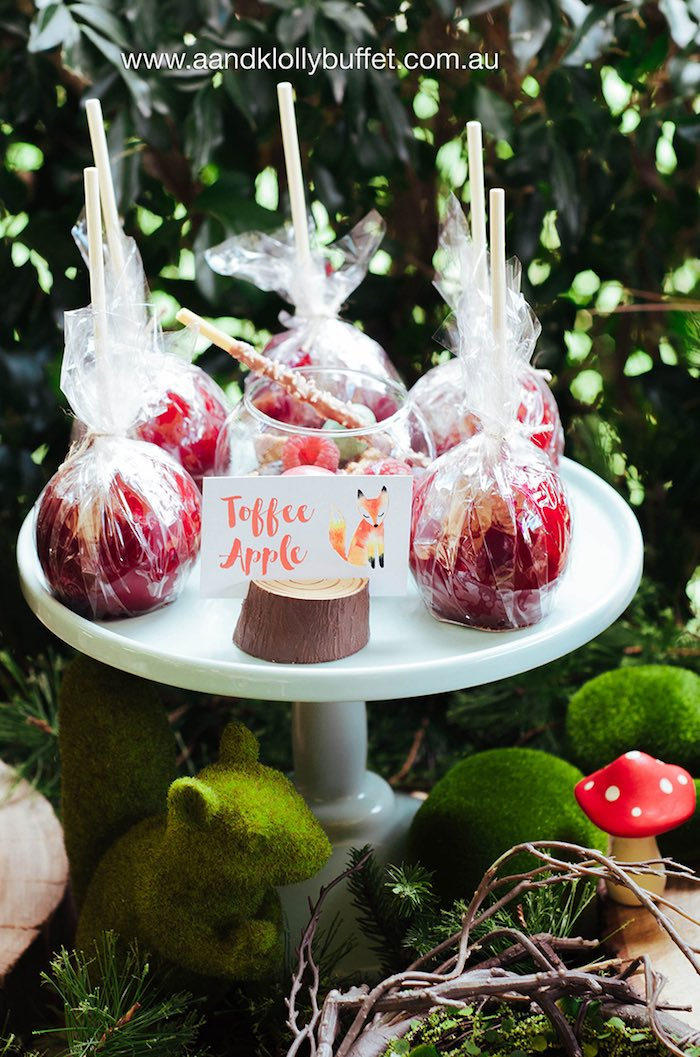 Toffee apples from a Woodland Forest Baby Shower via Kara's Party Ideas | KarasPartyIdeas.com (20)