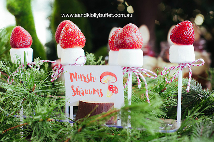 """Marshrooms"" marshmallow pops from a Woodland Forest Baby Shower via Kara's Party Ideas 