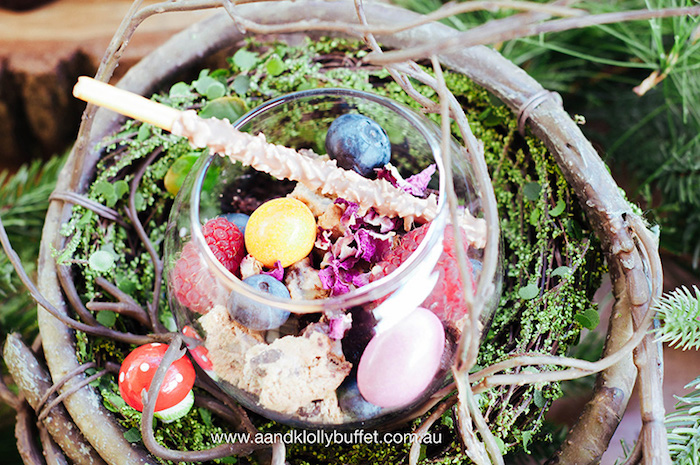 Berry brownie dessert cups from a Woodland Forest Baby Shower via Kara's Party Ideas | KarasPartyIdeas.com (14)