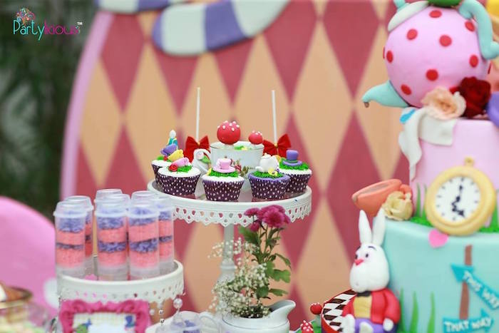 Cupcakes from an Alice in Wonderland Birthday Tea Party on Kara's Party Ideas | KarasPartyIdeas.com (39)