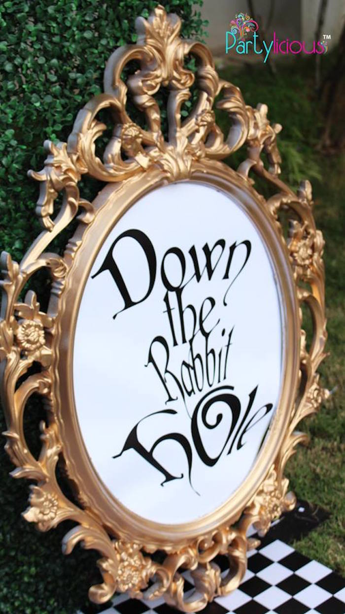 "Printed & framed ""Down the Rabbit Hole"" sign from an Alice in Wonderland Birthday Tea Party on Kara's Party Ideas 