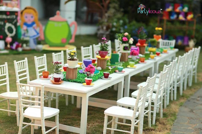Tea table from an Alice in Wonderland Birthday Tea Party on Kara's Party Ideas | KarasPartyIdeas.com (36)