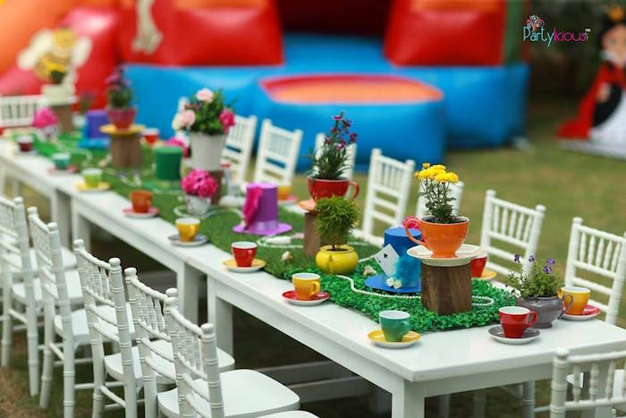 Tea tablescape from an Alice in Wonderland Birthday Tea Party on Kara's Party Ideas | KarasPartyIdeas.com (33)