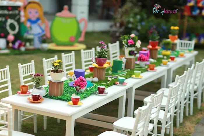 Tea table from an Alice in Wonderland Birthday Tea Party on Kara's Party Ideas | KarasPartyIdeas.com (31)