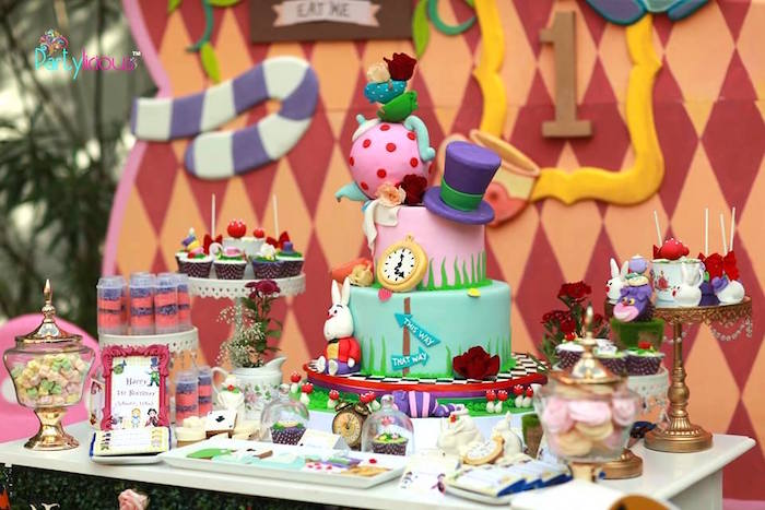 Alice in Wonderland sweet table from an Alice in Wonderland Birthday Tea Party on Kara's Party Ideas | KarasPartyIdeas.com (49)