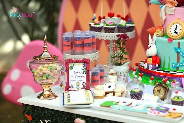 Dessert table details from an Alice in Wonderland Birthday Tea Party on Kara's Party Ideas | KarasPartyIdeas.com (27)