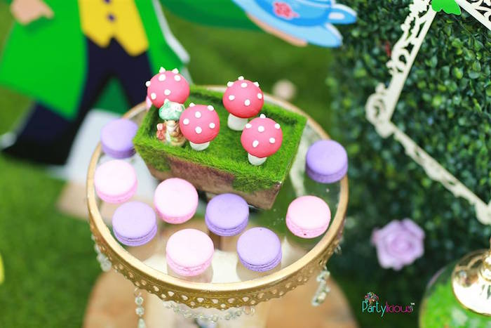 Toadstool pops & macarons from an Alice in Wonderland Birthday Tea Party on Kara's Party Ideas | KarasPartyIdeas.com (26)