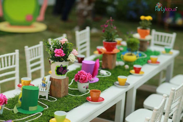 Tea tablescape from an Alice in Wonderland Birthday Tea Party on Kara's Party Ideas | KarasPartyIdeas.com (24)