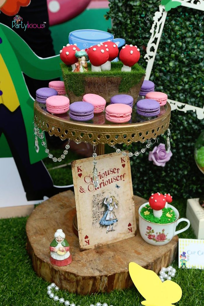 Toadstool pops, macarons and cupcakes from an Alice in Wonderland Birthday Tea Party on Kara's Party Ideas | KarasPartyIdeas.com (23)