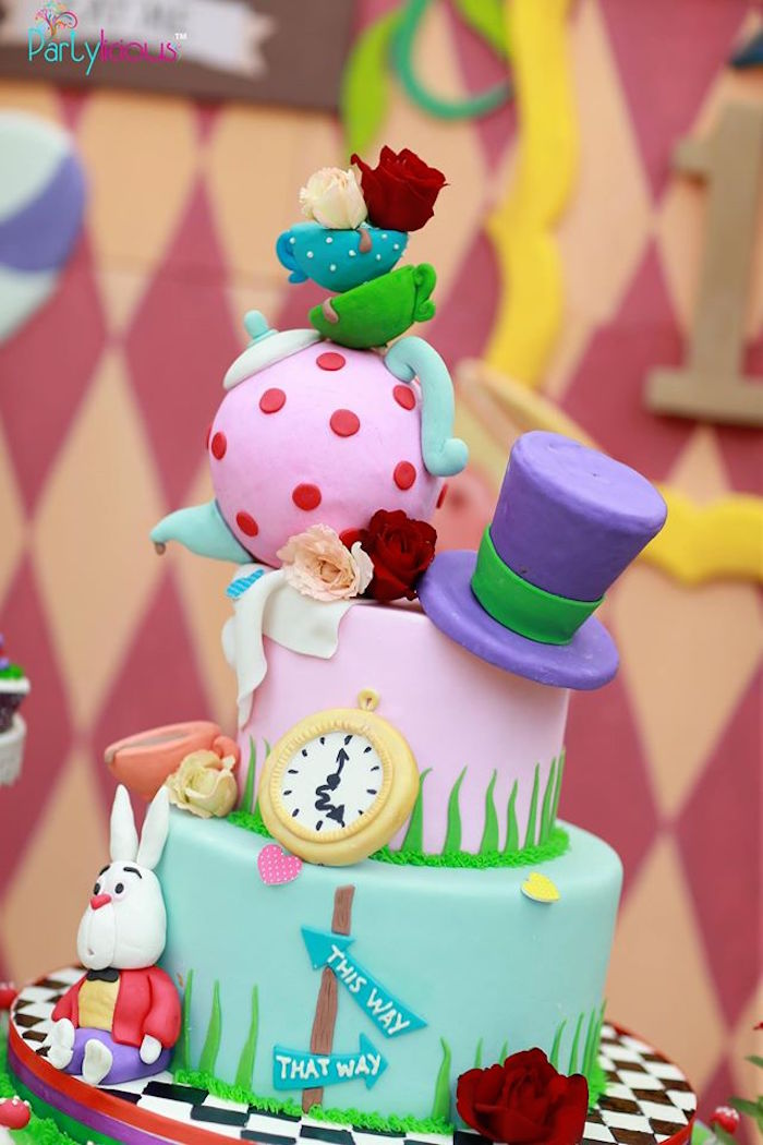 Alice in Wonderland cake from an Alice in Wonderland Birthday Tea Party on Kara's Party Ideas | KarasPartyIdeas.com (20)