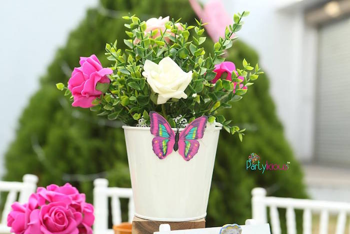 Flowers in a bucket from an Alice in Wonderland Birthday Tea Party on Kara's Party Ideas | KarasPartyIdeas.com (19)