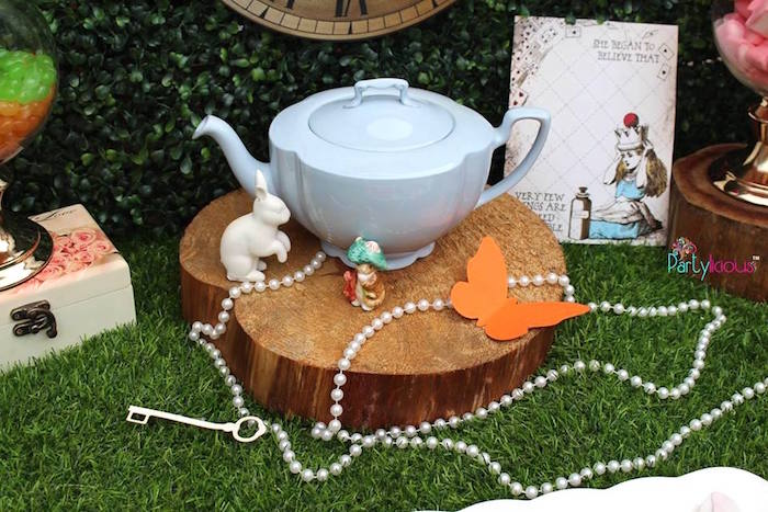 Tea kettle decor from an Alice in Wonderland Birthday Tea Party on Kara's Party Ideas | KarasPartyIdeas.com (18)
