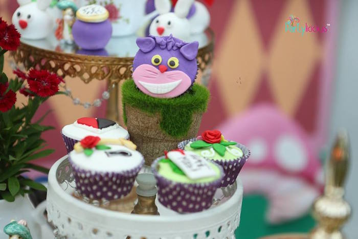 Alice in Wonderland cupcakes from an Alice in Wonderland Birthday Tea Party on Kara's Party Ideas | KarasPartyIdeas.com (15)