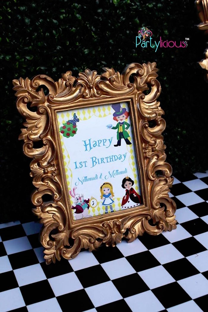 Printed Alice in Wonderland party sign from an Alice in Wonderland Birthday Tea Party on Kara's Party Ideas | KarasPartyIdeas.com (14)