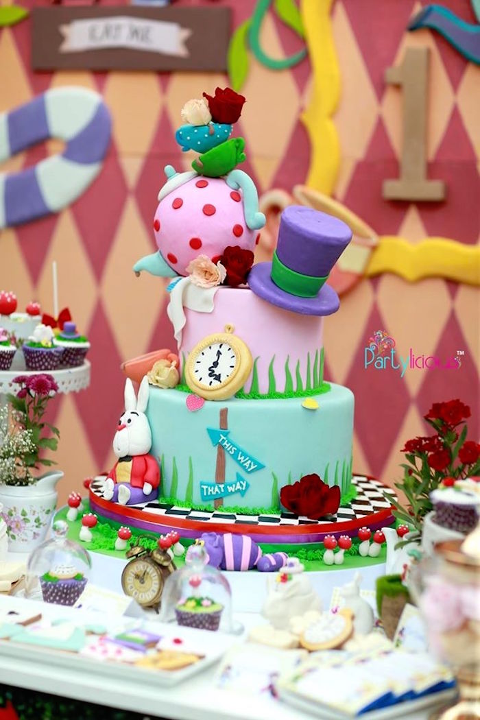Alice in Wonderland Cake from an Alice in Wonderland Birthday Tea Party on Kara's Party Ideas | KarasPartyIdeas.com (12)
