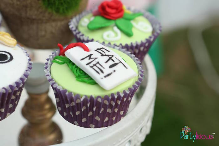 """Eat Me"" cupcake from an Alice in Wonderland Birthday Tea Party on Kara's Party Ideas 