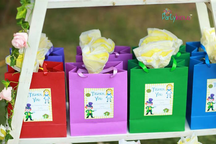 Assorted colored gift bags from an Alice in Wonderland Birthday Tea Party on Kara's Party Ideas | KarasPartyIdeas.com (7)