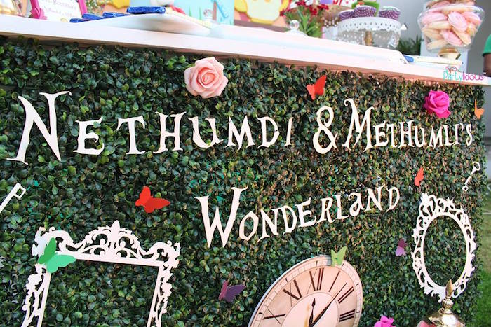Foliage backdrop from an Alice in Wonderland Birthday Tea Party on Kara's Party Ideas | KarasPartyIdeas.com (4)