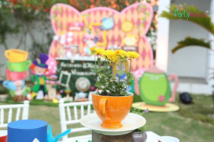 Tea cup flower centerpiece from a Alice in Wonderland Birthday Tea Party on Kara's Party Ideas | KarasPartyIdeas.com (3)