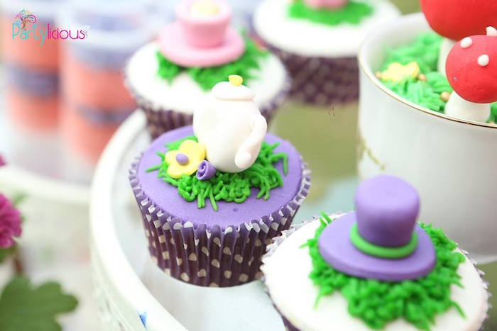 Tea kettle cupcake from an Alice in Wonderland Birthday Tea Party on Kara's Party Ideas | KarasPartyIdeas.com (46)