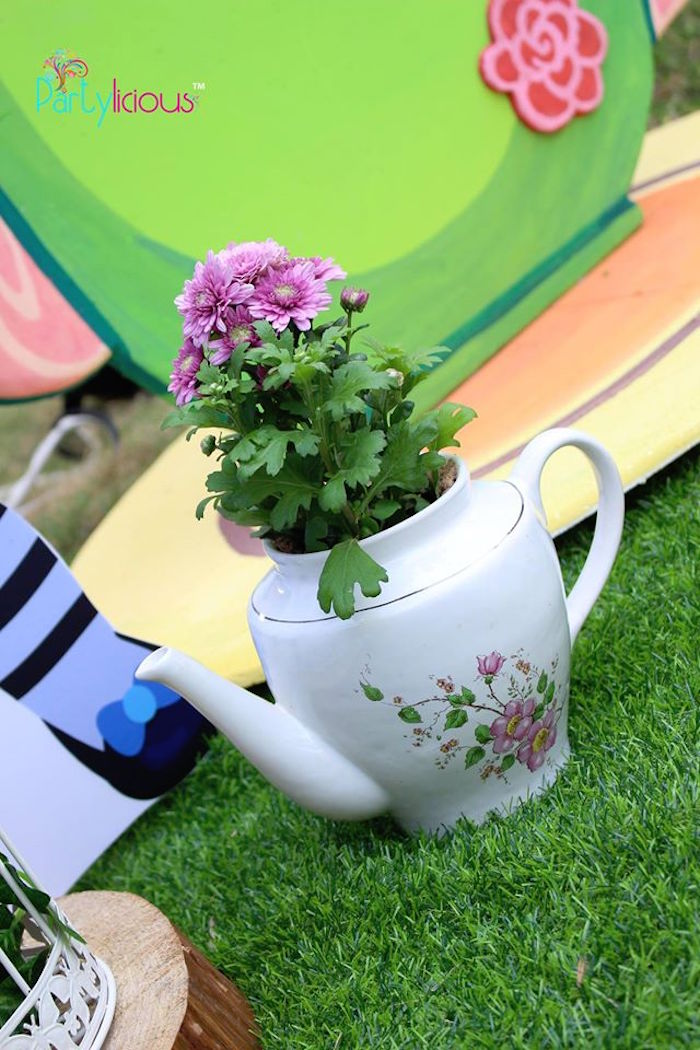 Tea kettle flower from an Alice in Wonderland Birthday Tea Party on Kara's Party Ideas | KarasPartyIdeas.com (44)