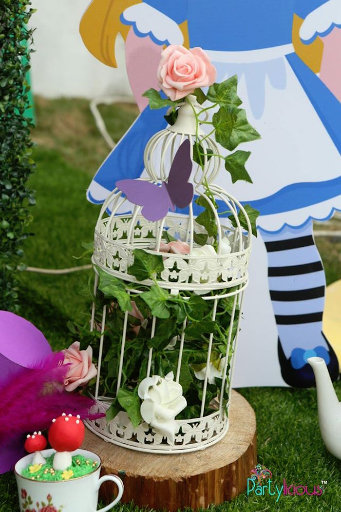 Flower and ivy bird cage from an Alice in Wonderland Birthday Tea Party on Kara's Party Ideas | KarasPartyIdeas.com (43)